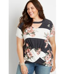 maurices plus size womens 24/7 floral colorblock cut out neck twisted hem tee white