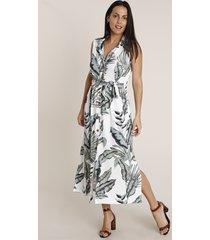 vestido chemise feminino midi estampado de folhagem sem manga off white