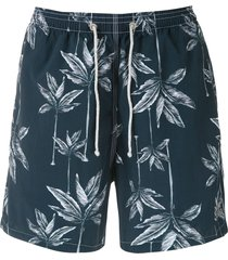 track & field beach swim shorts - blue