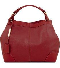 tuscany leather tl141516 ambrosia - borsa in pelle morbida con tracolla rosso