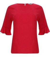 blusa unicolor acampanada color rojo, talla 6