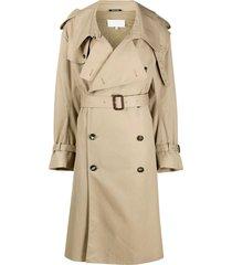maison margiela wraparound belted trench coat - neutrals