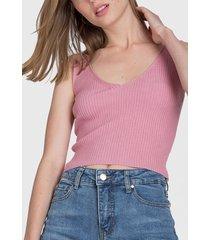 polera io crop top  rosa - calce ajustado