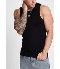 river island mens black muscle fit vest