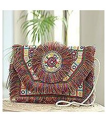 embellished jute shoulder bag, 'bollywood rainbow' (india)