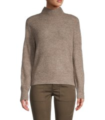 max studio women's rib-knit turtleneck sweater - heather natural - size l