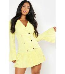 geplooide blazer jurk met franjezoom, geel