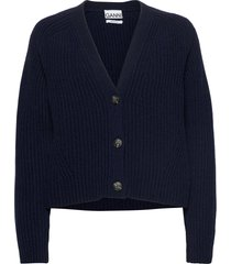 rib knit gebreide trui cardigan blauw ganni