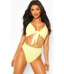 crinkle tie front high waist bikini, yellow