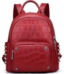 mochilas/ mochila de cuero real split mochilas de-rojo