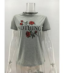 rose nada impresión de la letra camiseta camisetas de mujeres-gris