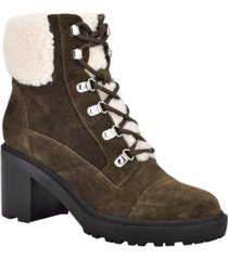 marc fisher women's lakynn lace up lug sole heeled combat booties women's shoes