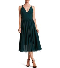 dress the population alicia mixed media midi dress, size xx-large in pine at nordstrom
