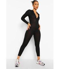 geribbelde jumpsuit met rits, black