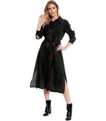 vestido chemise bisô midi folhas feminino - feminino