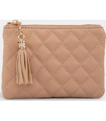 rosa quilted coin pouch - nude