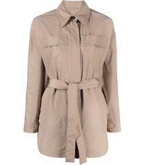 brunello cucinelli belted shirt jacket - neutrals