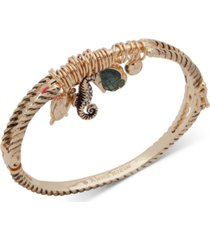 anne klein gold-tone pave & stone sea life charm bangle bracelet