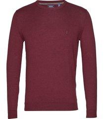 12gg soft cotton crew neck stickad tröja m. rund krage röd izod