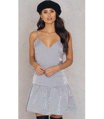 glamorous shimmer frill dress - silver