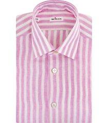 man linen shirt with white and fuchsia stripes