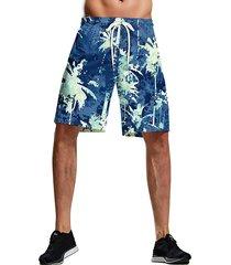 hombres verano azul tropical impreso traje de baño de playa de secado rápido