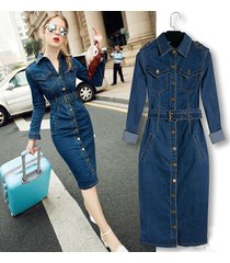 women vintage long sleeve single breasted slim waist casual denim dress