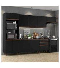 cozinha completa madesa reims 320001 com armário e balcão - preto preto