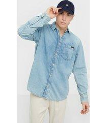 nudie jeans albert light structure skjortor denim