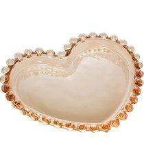 conjunto de 4 pratos cristal coração pearl âmbar 12x10x1cm