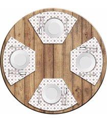jogo americano love decor para mesa redonda wevans quadrados coloridos kit com 4 pçs