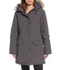 women's canada goose trillium regular fit down parka with genuine coyote fur trim, size xx-large (20) - grey