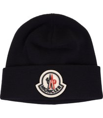 man navy blue wool beanie with moncler logo