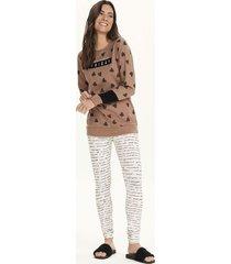 pijama longo corações com legging 12624 cor com amor