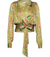 kimono wrap top blouse lange mouwen groen by ti mo