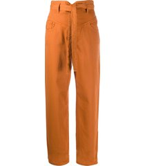 pinko high-waisted belted jeans - orange