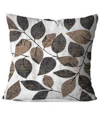 almofada avulsa decorativa folhas marrom 45x45cm