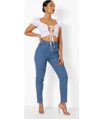 high rise mom jeans, mid blue