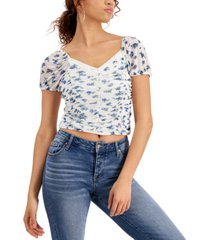 crave fame juniors' printed ruched top
