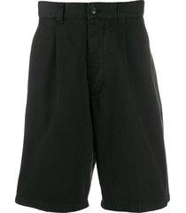ami paris pleated front bermuda shorts - black