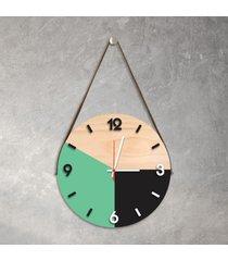 relã³gio de parede decorativo adnet verde claro e preto com nãºmeros em relevo mã©dio - multicolorido - dafiti