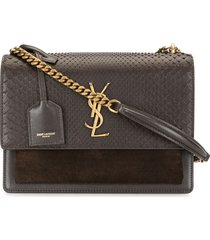 saint laurent sunset snake-effect shoulder bag - brown