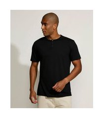 camiseta masculina básica manga curta gola padre preta