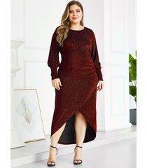 yoins plus tamaño rojo metálico shine party vestido