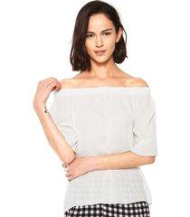 blusa fiveblu woodstock blanco - calce holgado