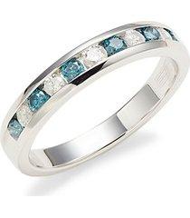 14k white gold. white & blue diamond eternity ring