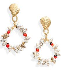 women's gas bijoux costa seashell drop earrings