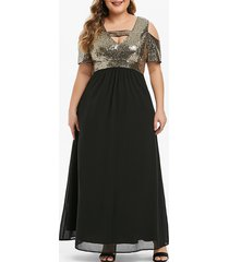 plus size cut out sequined maxi party dress