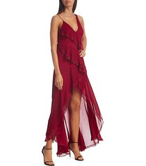 mariana silk high-low ruffle dress