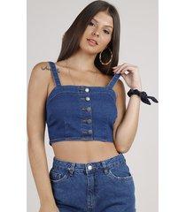 top cropped jeans com botões alça média decote reto azul escuro